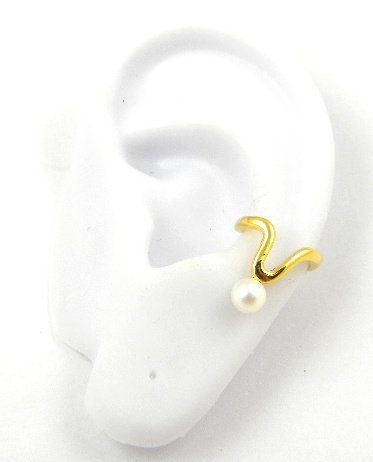Gold White Cultured pearl Wishbone Band Ear Cuff Vermeil Earring Left