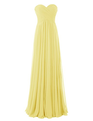 Diyouth Floor Length Long Sweetheart Pleated Formal Bridesmaid Dress Backless Yellow Size 20W