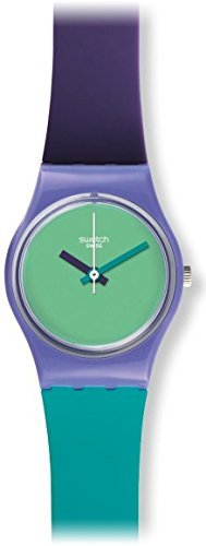 Swatch Fun in Blue Green Dial Blue and Purple Silicone (Double Wrap) Ladies Watch LV117