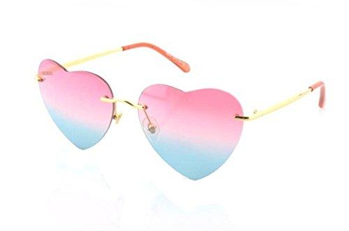 Women Uv400 Cat Eye Love Heart Style Street Beat Glasses For Girls Eyewear (Pink Blue)
