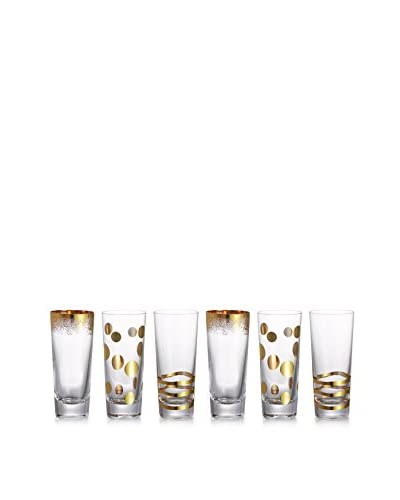 Fitz & Floyd Cocktails Set of 6 Gold 3-Oz. Shot Glasses