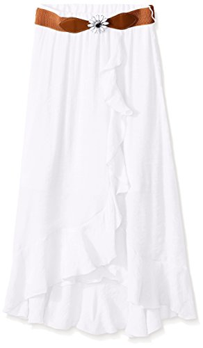 Amy Byer Big Girls' Tulip Front Skirt with Belt, White, Medium