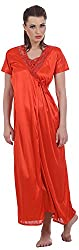 EESHAR Women's satin gown with LACE NIGHTY