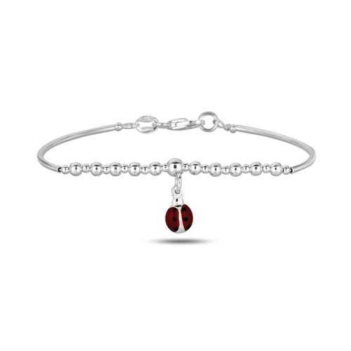 Baby Bangle Bracelet With Ladybug 5.5 Inches In Sterling Silver