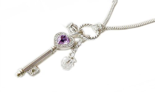 Kobwa(Tm) Silver Antiqued Palace Purple Crystal Gold Tone Heart Key Necklace Sweater Chain +Free Keyring
