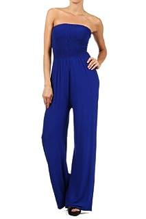 Kiwi Co. Alexa Solid Strapless Jumpsuit Royal Blue Large
