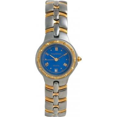 Krug-Baumen Ladies Regatta Blue Dial Two Tone Strap Watch