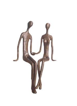 Sitting Couple Cast Bronze Sculpture Statue Figurine Figure Metallic