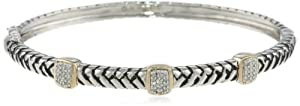 S&G Sterling Silver and 14k Yellow Gold Diamond Three Station Bangle Bracelet (1/5 cttw, I-J Color, I2-I3 Clarity)