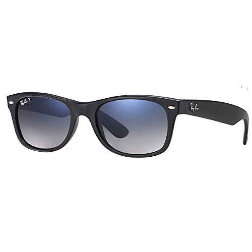 Ray-Ban RB2132 601S/78 New Wayfarer Polarized Sunglasses,Matte Black/Polarized Blue Gradient Gray,55 mm