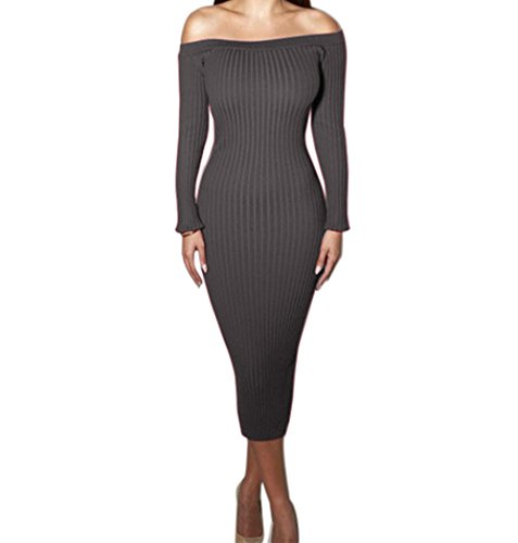 Yizenge Long sleeve Off Shoulder Sweaters Sexy Autumn Soft Tight Elastic Dress (M, Gray)