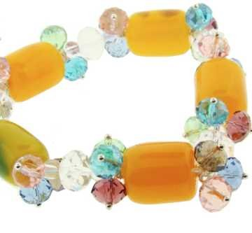 Stretch Bracelet Made From Yellow Glass Beads and Crystals
