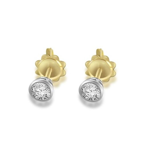 0.60ct certified Round Brilliant Cut Diamond Earrings for Women H/SI1 in 18ct yellow and white gold -E107