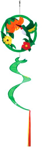 """Sunshine Hummingbird with Flowers - Large 57"""" Long - Bright & Coloful Twister - Spinner - Windsock Hanging Garden Decorative Scuplture Decor"""