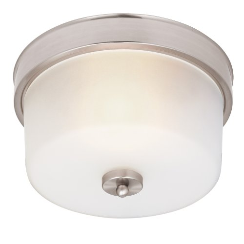 Westinghouse 6227600 Sylvestre One-Light Interior Flush-Mount Ceiling Fixture, Brushed Nickel Finish With Frosted Seeded Glass