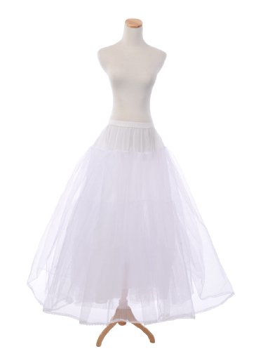 Topwedding White Hoopless Nylon & Organza 3 Layers Bridal Petticoat/Crinoline