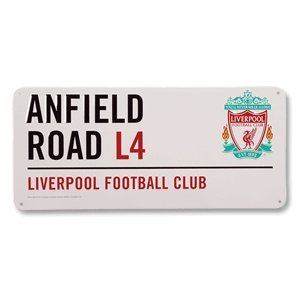 Official Liverpool Fc Anfield Road L4 Metal Street Sign by Liverpool