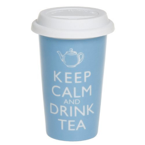 Robert Taubman Ltd - Tazza da viaggio con doppio rivestimento in ceramica e coperchio in silicone con scritta Keep calm and drink tea