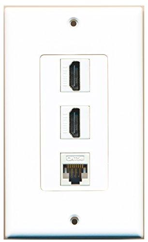 Riteav - 2 Hdmi And 1 Cat5E White Ethernet Port Wall Plate Decorative