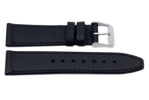 Genuine Smooth Leather Short Black Watch Band