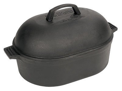 Bayou Classic 12 Quart Cast Iron Oval Roaster Dutch Oven W Domed Lid Seasoned Qt (Domed Pot Lid compare prices)