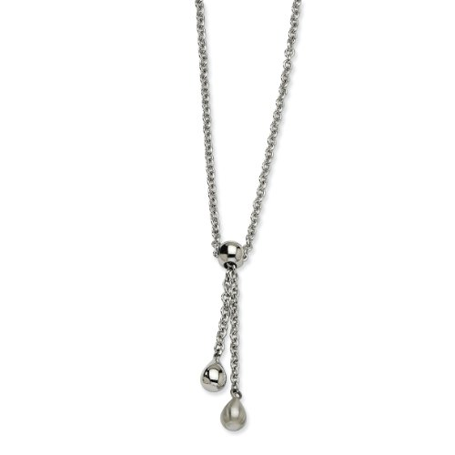 Chisel Stainless Steel Satin & Polished Teardrop Dangles 20 Inch Y Necklace