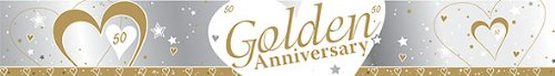 SILVER, WHITE & GOLD 50TH WEDDING GOLDEN ANNIVERSARY BANNER - 9FT (REPEATS 3 TIMES)