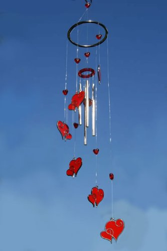 Hanging Red Hearts Wind Chime