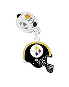 Pittsburgh Steelers Charm with Connector Will Fit Pandora, Troll, Biagi and More