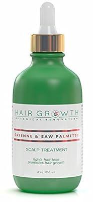 Hair Growth Botanical Renovation Anti-hair Loss Scalp Treatment Hair Oil, 4 oz/118 ml, Cayenne & Saw Palmetto