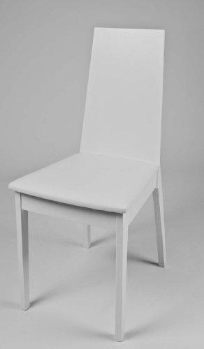 Sedia in legno finitura bianca e seduta in ecopelle - Sedia bianca legno ...
