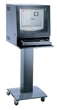 QUIPO Colonne pour ordinateur - pour écrans max. 20″ gris bleu - armoire informatique armoire pour ordinateur armoires informatiques armoires pour ordinateur meubles informatiques poste de travail poste de travail informatique postes de trava
