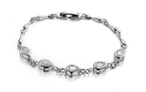 JewelryWe Fashion Platinum Plated Silver Teardrop Cubic Zirconia Bracelet Fadeless Bangle Ladies Chain Gifts
