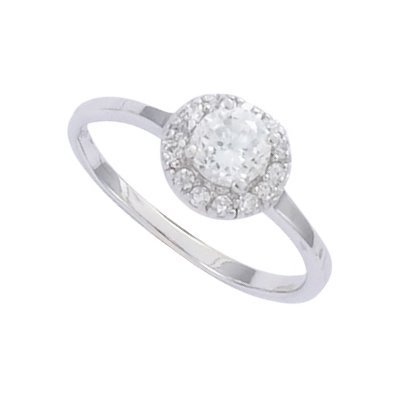 Sterling Silver Clear Cubic Zirconia 5 mm Solitaire Engagement Band Ring - Size N