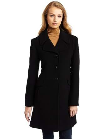 Amazon.com: Larry Levine Women's Classic Wool Coat, Black