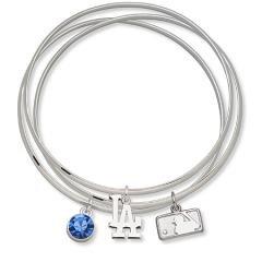 MLB Officially Licensed Los Angeles Dodgers Bangle Bracelet Set W/ Blue Crystal