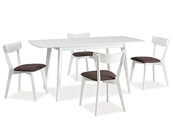 5 teilig Essgruppe 'Combo II Weiß' Tisch + 4 Stuhle Holztisch Kuchentisch 160x80 Matt