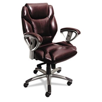 Mayline 300 Series Mid-Back Swivel/Tilt Chair, Burgundy Leather, EA - MLNUL330MBUR