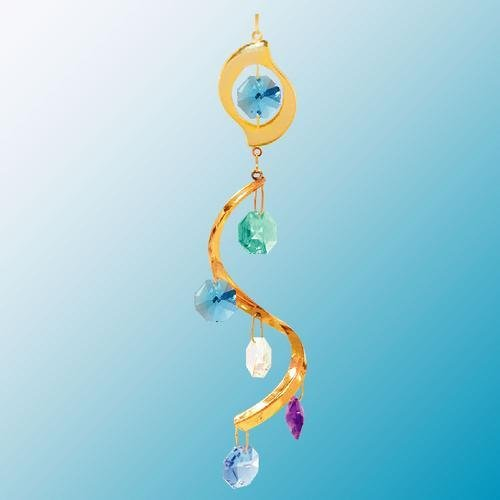 24K Gold Plated Hanging Sun Catcher or Ornament..... Leaf Icon Swirl with Green Swarovski Austrian Crystals