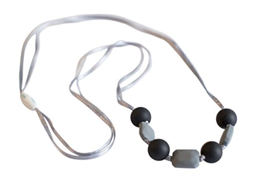Little Teether Lacey Teething Necklace for Baby Nursing - Stylish Silicone Necklace for Moms, Teether for Babies. Provides Teething Pain Relief. Food-Grade Safe! Teething Remedy Approved by Mothers! - Black & Grey