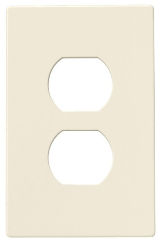 Cooper Wiring Devices Pjs8La Polycarbonate 1-Gang Screwless Duplex Receptacle Mid Size Wall Plate, Light Almond