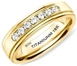 Mens Titanium Ring - Affordable Luxury Gold Classic Unisex Wedding Engagement Band Ring With Created Diamonds CZ - Size Y - (Comes In A Luxury Gift Box - Available In Most Sizes)