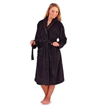 NEW LUXURY WOMENS FULL LENGTH FLEECE BATH ROBE DRESSING GOWN HOUSECOAT+ BELT POCKETS COLLAR LADIES BLACK SMALL