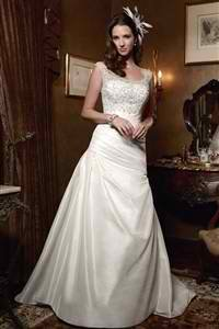 White Satin Wedding Dress with Lace Straps; Size 10