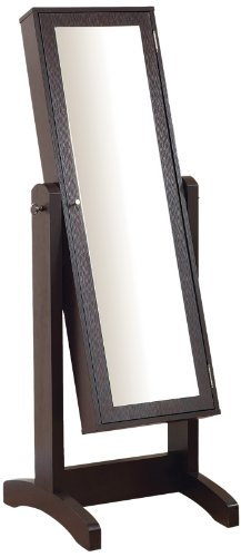Enitial Lab Cheval Mirror And Jewelry Armoire, Espresso front-629116
