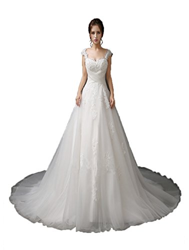 efc100fa5b Angel Formal Dresses Women s Beading V Neck Empire Lace Wedding  Dresses(14