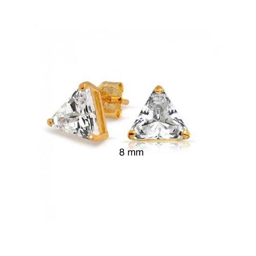 Bling Jewelry Gold Vermeil Basket Set Trillion Cut CZ Unisex Triangle Stud Earrings (3ct 8mm)