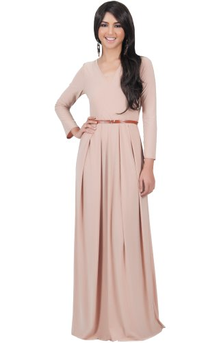 Koh Koh Women'S V-Neck Long Sleeve Elegant Cockatil Evening Formal Maxi Dress - Large - Beige