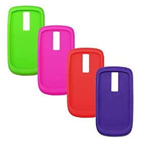4 Pack of Soft Silicone Gel Skin Cover Cases for T-Mobile Google G2 HTC Magic / Mytouch 3G (Purple / Hot Pink / Red / Neon Green)