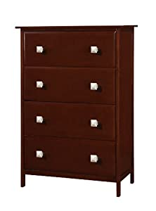 Solid Wood 4 Drawer Chest--cappuccino Finish by DONCO